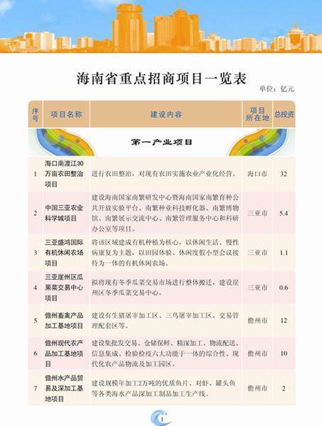 海南省重点招商项目